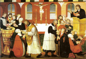 Luther preaching by Church of Torslunde